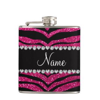 Custom name neon hot pink glitter tiger stripes hip flask