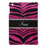Custom name neon hot pink glitter tiger stripes case for the iPad mini