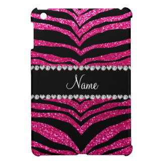 Custom name neon hot pink glitter tiger stripes case for the iPad mini