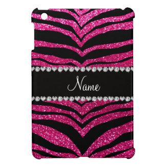 Custom name neon hot pink glitter tiger stripes iPad mini cover