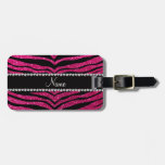 Custom name neon hot pink glitter tiger stripes tags for luggage