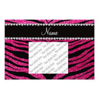 Custom name neon hot pink glitter tiger stripes art photo