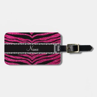 Custom name neon hot pink glitter tiger stripes tag for luggage