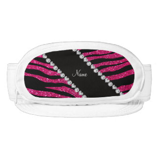 Custom name neon hot pink glitter tiger stripes visors