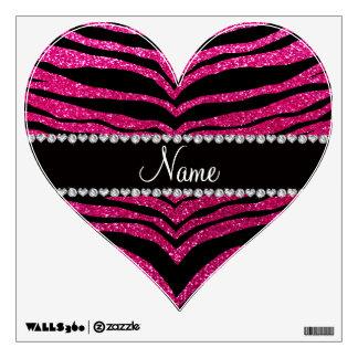 Custom name neon hot pink glitter tiger stripes wall sticker