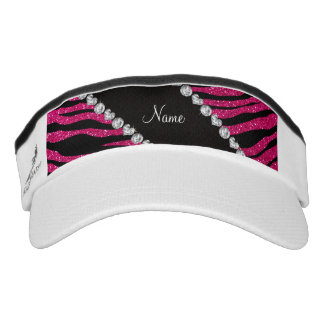 Custom name neon hot pink glitter tiger stripes headsweats visors