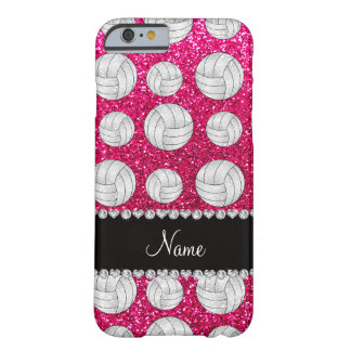 Custom name neon hot pink glitter volleyballs barely there iPhone 6 case