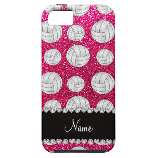 Custom name neon hot pink glitter volleyballs iPhone 5 covers