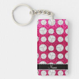 Custom name neon hot pink glitter volleyballs rectangular acrylic key chain