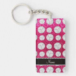 Custom name neon hot pink glitter volleyballs rectangular acrylic keychain