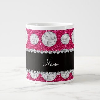 Custom name neon hot pink glitter volleyballs large coffee mug