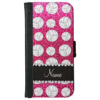 Custom name neon hot pink glitter volleyballs iPhone 6 wallet case
