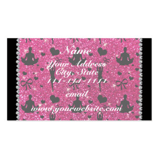 Custom name neon hot pink glitter yoga hearts bows Double-Sided standard business cards (Pack of 100)