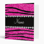 Custom name neon hot pink glitter zebra diamonds binders