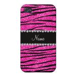 Custom name neon hot pink glitter zebra diamonds iPhone 4/4S cover