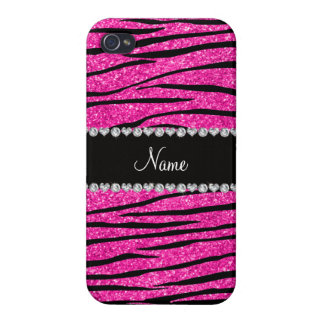 Custom name neon hot pink glitter zebra diamonds iPhone 4/4S cover