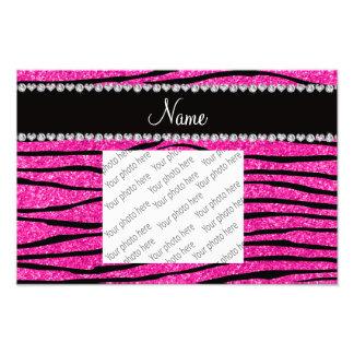 Custom name neon hot pink glitter zebra diamonds photo print