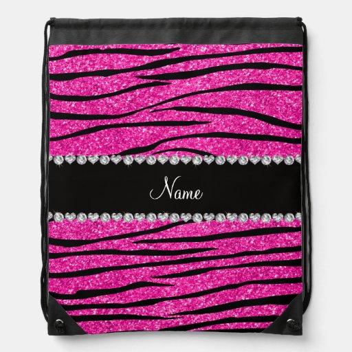 Custom name neon hot pink glitter zebra diamonds drawstring backpack