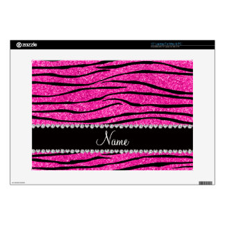 Custom name neon hot pink glitter zebra diamonds skins for laptops