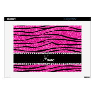 Custom name neon hot pink glitter zebra diamonds skins for laptops