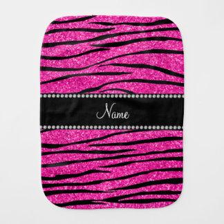 Custom name neon hot pink glitter zebra stripes burp cloth