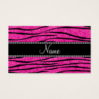 Custom name neon hot pink glitter zebra stripes business card