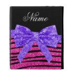 Custom name neon hot pink glitter zebra stripes iPad folio cases