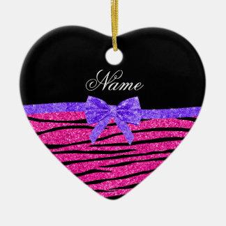 Custom name neon hot pink glitter zebra stripes ceramic ornament