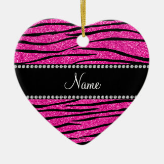 Custom name neon hot pink glitter zebra stripes ceramic ornament