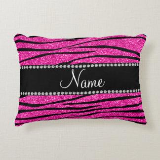 Custom name neon hot pink glitter zebra stripes decorative pillow