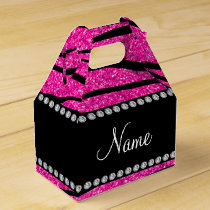 Custom name neon hot pink glitter zebra stripes favor box