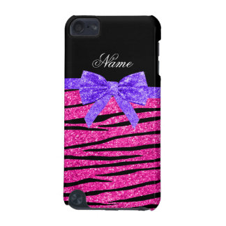 Custom name neon hot pink glitter zebra stripes iPod touch 5G cover