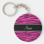 Custom name neon hot pink glitter zebra stripes basic round button keychain