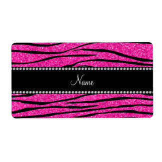 Custom name neon hot pink glitter zebra stripes label