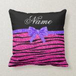 Custom name neon hot pink glitter zebra stripes throw pillows