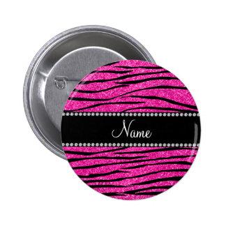 Custom name neon hot pink glitter zebra stripes pinback button