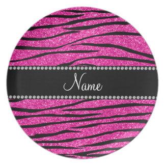 Custom name neon hot pink glitter zebra stripes plate