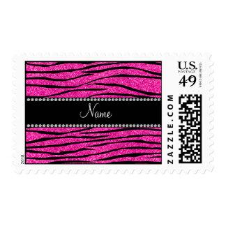 Custom name neon hot pink glitter zebra stripes postage