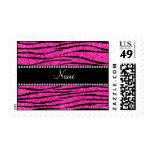 Custom name neon hot pink glitter zebra stripes postage stamp