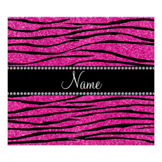 Custom name neon hot pink glitter zebra stripes poster