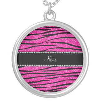 Custom name neon hot pink glitter zebra stripes silver plated necklace