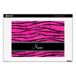 Custom name neon hot pink glitter zebra stripes laptop decal
