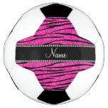 Custom name neon hot pink glitter zebra stripes soccer ball
