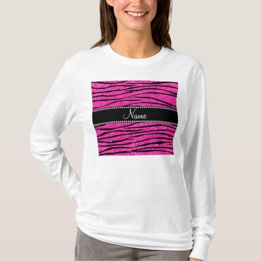 Custom Name Neon Hot Pink Glitter Zebra Stripes T Shirt