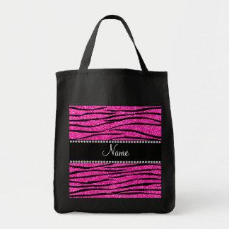 Custom name neon hot pink glitter zebra stripes tote bag