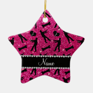 Custom name neon hot pink glitter zombies Double-Sided star ceramic christmas ornament