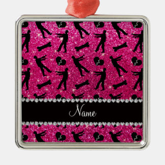 Custom name neon hot pink glitter zombies square metal christmas ornament