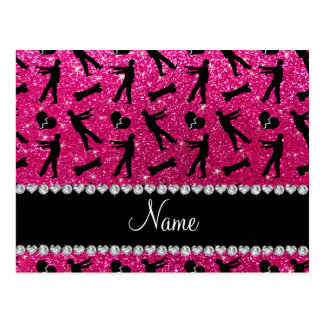 Custom name neon hot pink glitter zombies post card