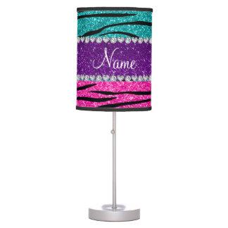 Custom name neon hot pink turquoise zebra stripes desk lamp