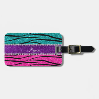 Custom name neon hot pink turquoise zebra stripes luggage tag